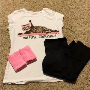 Girls Cat Gymnastics Tee w/ Leggings